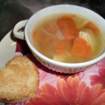 Valentine's day soup with Heart shaped carrots