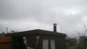 The shed finally has a chimney.